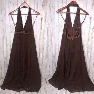 Max & Cleo 100% Silk Halter Maxi Dress